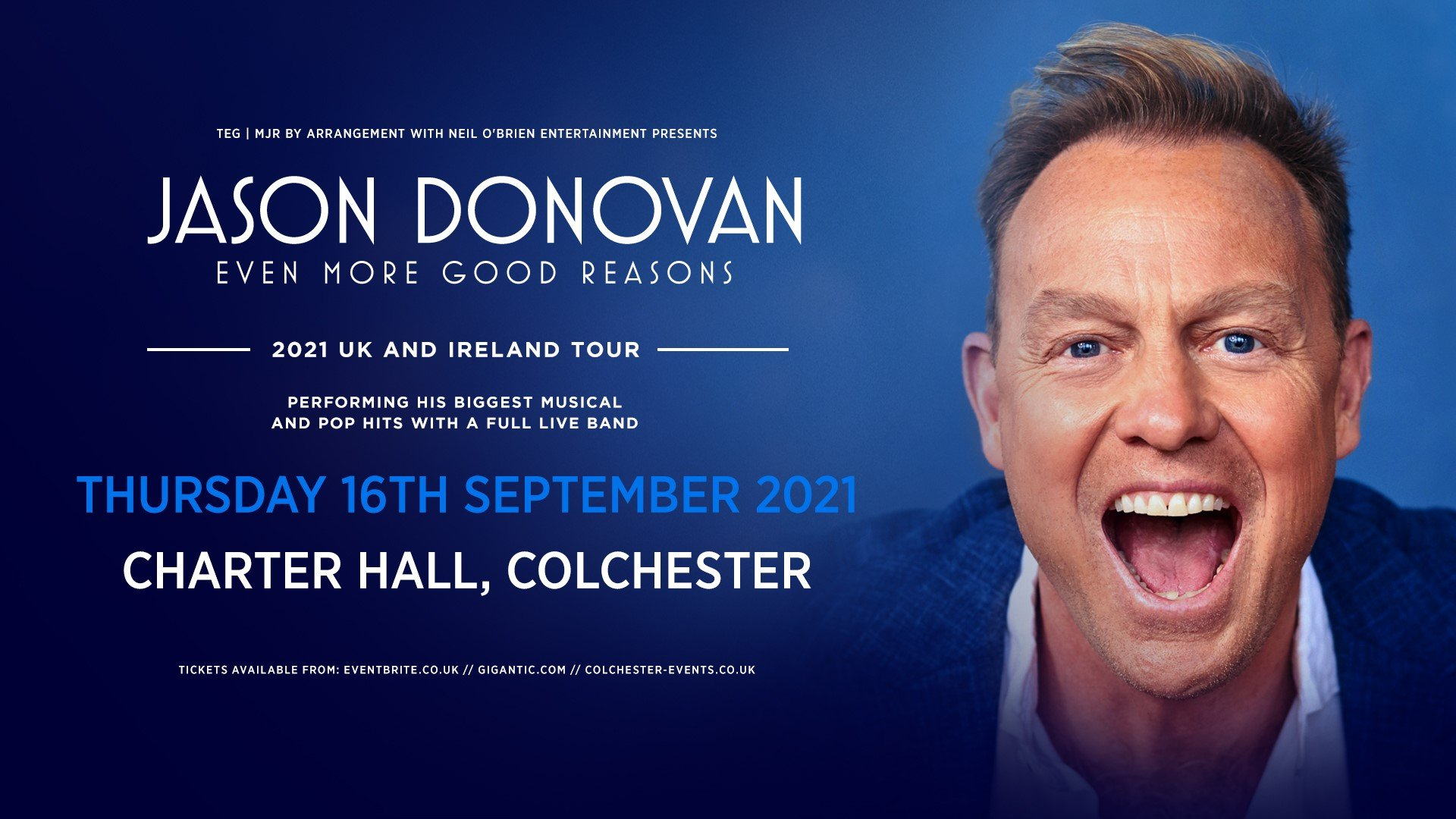 Jason Donovan At Colchester Charter Hall – New Date